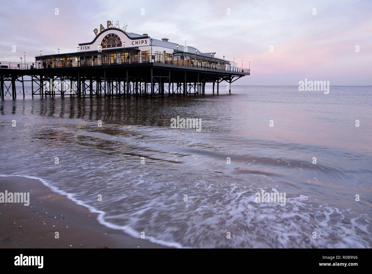 Cleethorpes pier, Lincolnshire, UK at dusk. - Stock Image
