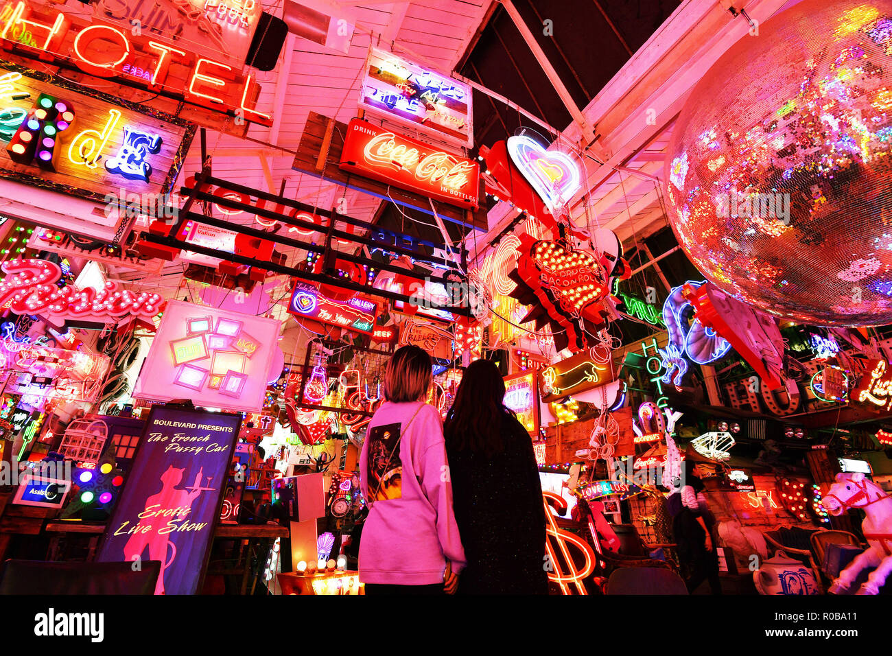 A view of God's Own Junkyard in Walthamstow, north east London, which showcases neon signs. - Stock Image