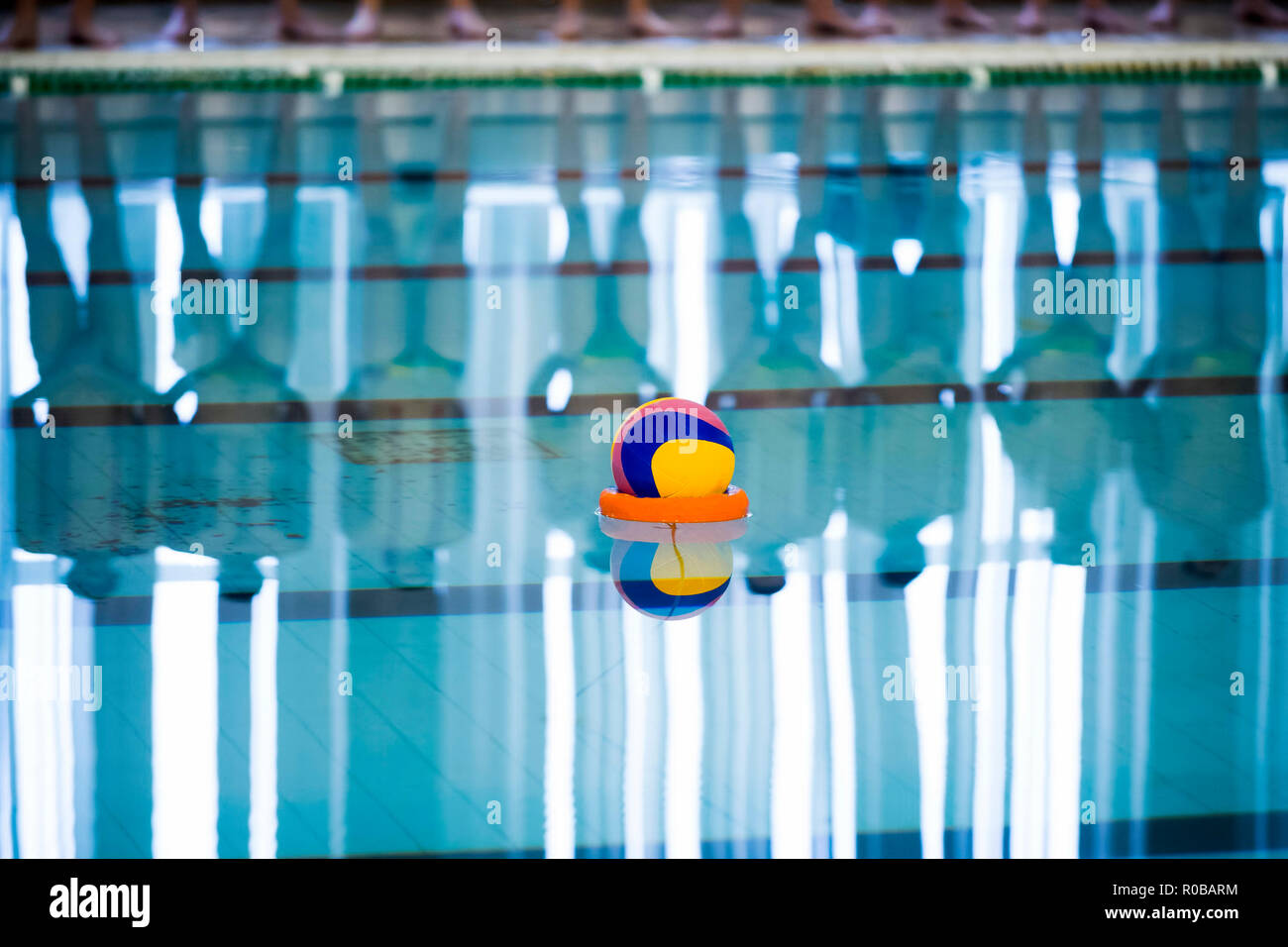 Water polo is a team water sport - Stock Image