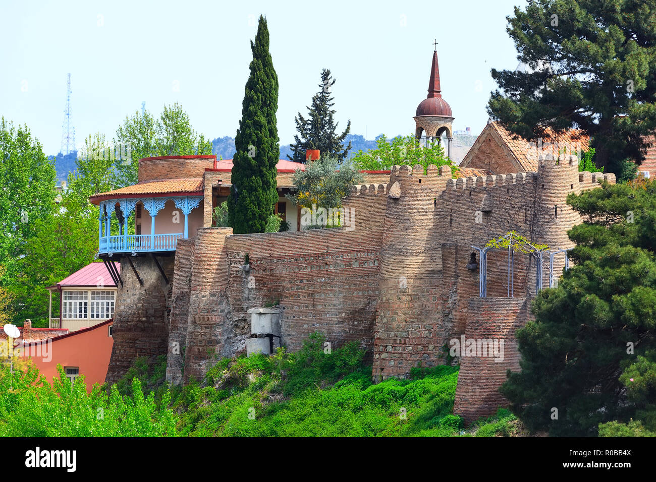 old traditional houses, wall and tower in Old Town of Tbilisi, Georgia Stock Photo