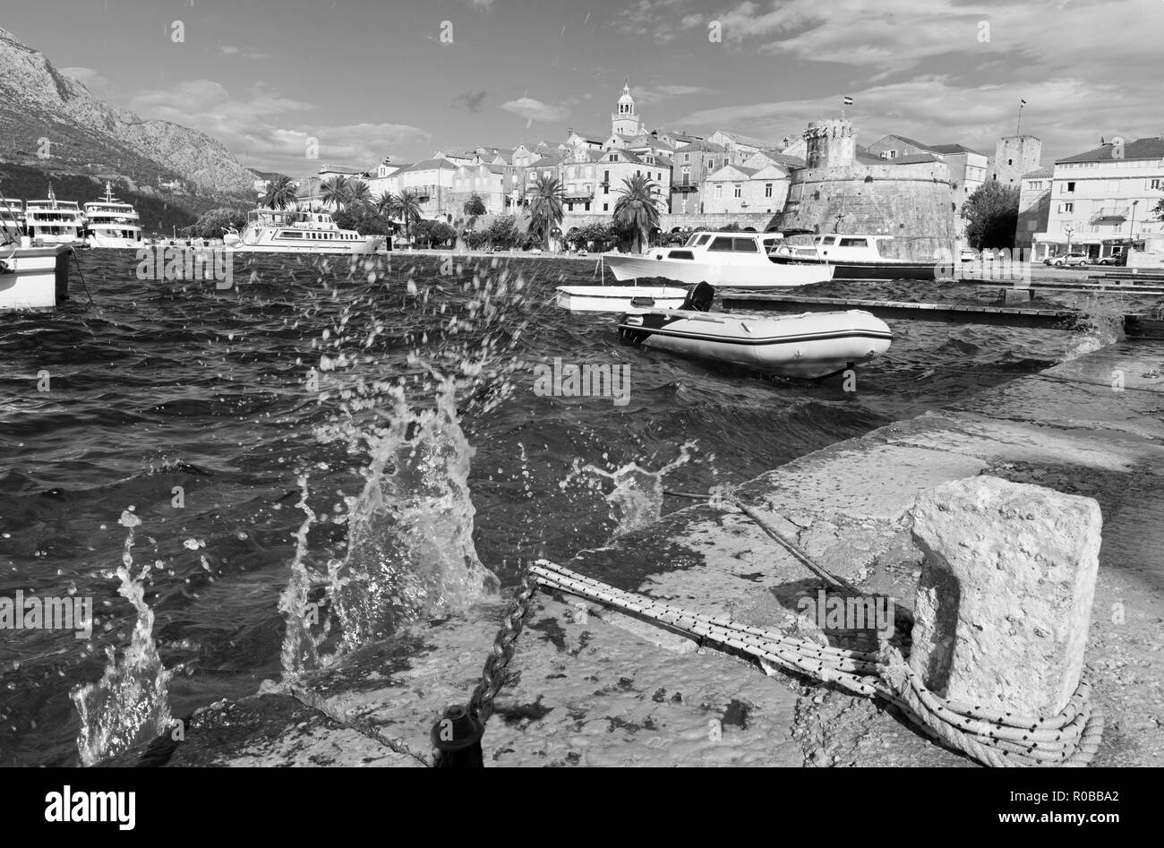 Croatia - The old town of Korcula. Stock Photo