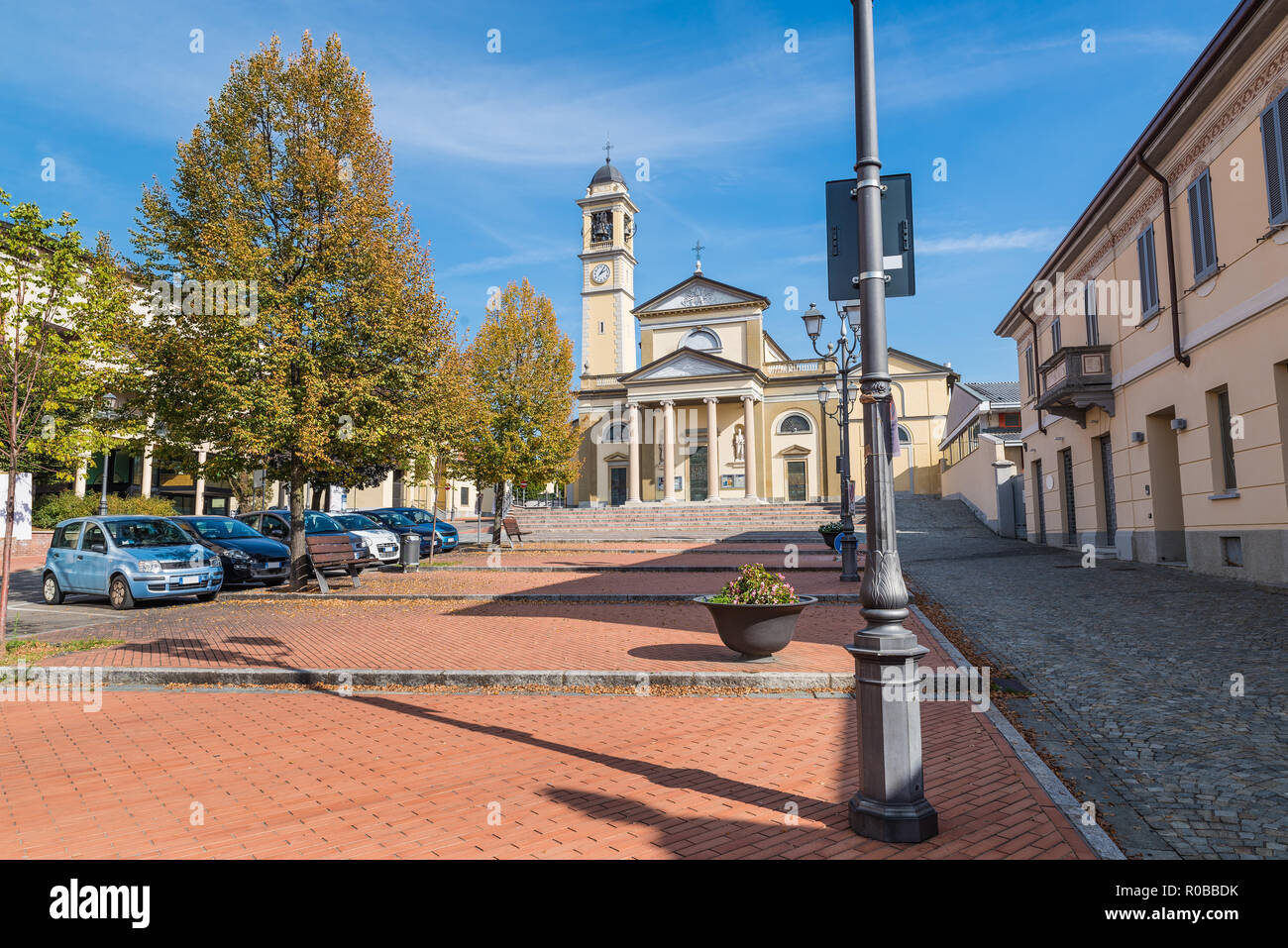 Gerenzano, historical center of the town near the town hall, province of Varese, Lombardy, about 25 kilometres (16 mi) from Milan, Italy. - Stock Image