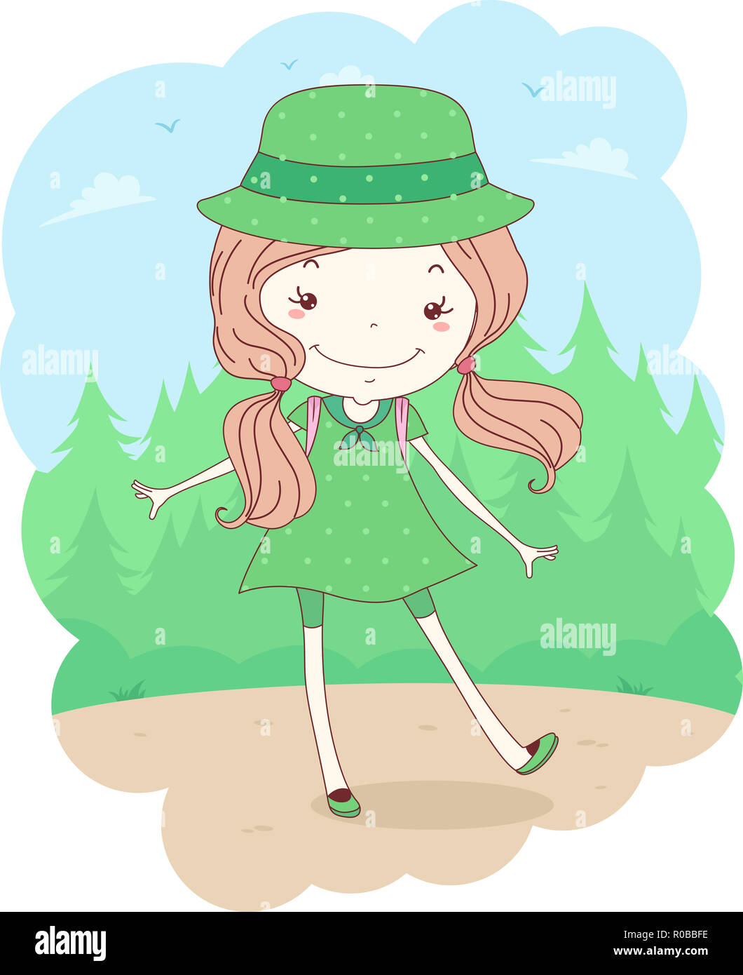 Illustration of a Kid Girl Scout in Uniform in the Forest for Camping - Stock Image