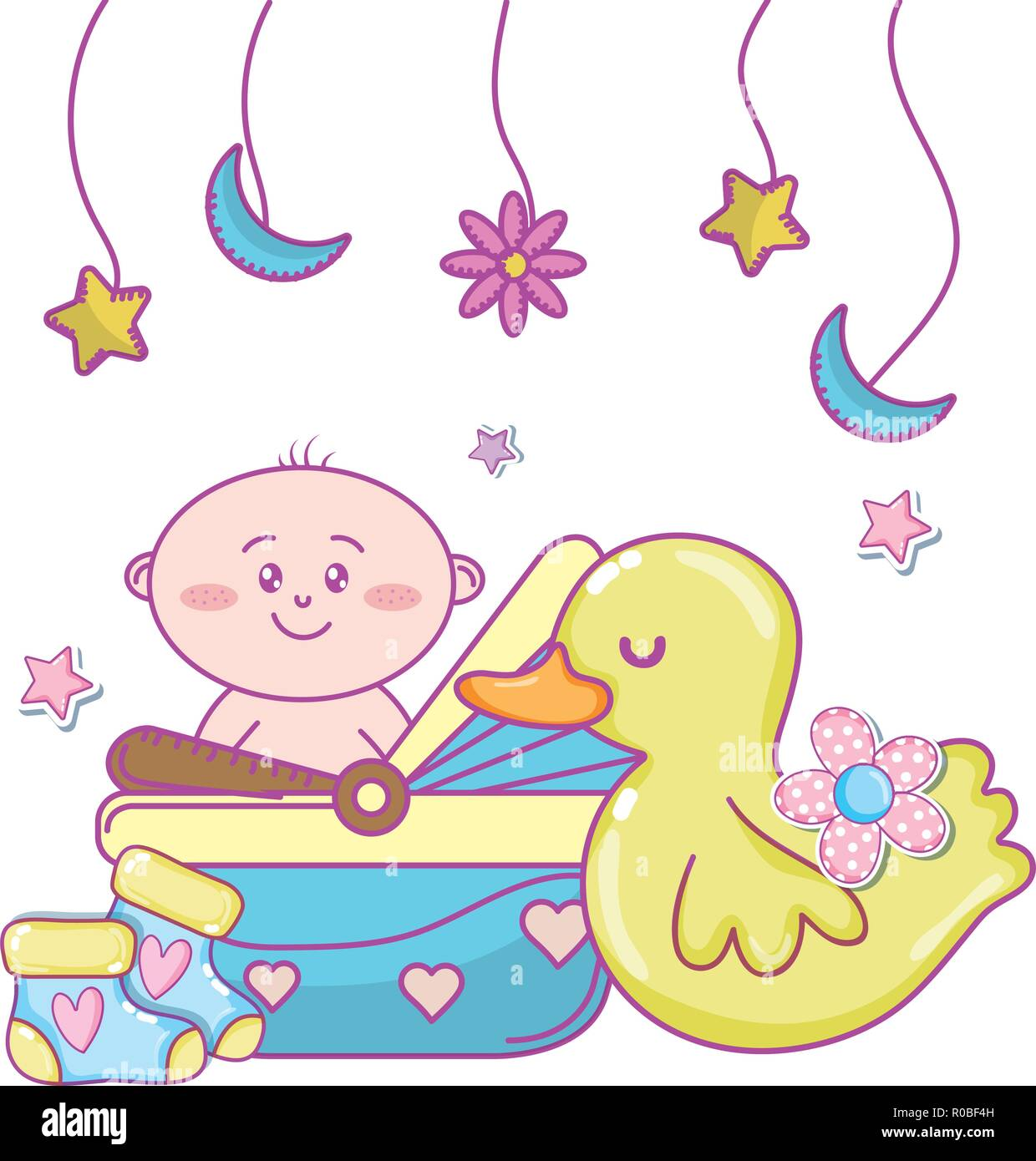 Baby Shower Toys And Cute Elements Cartoon Vector Illustration