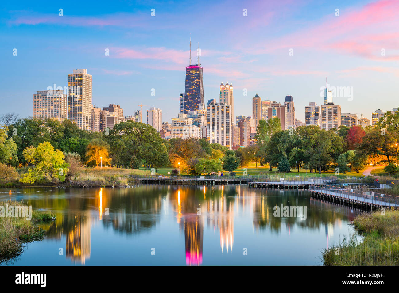 Chicago, Illinois, USA downtown skyline from Lincoln Park at twilight. - Stock Image