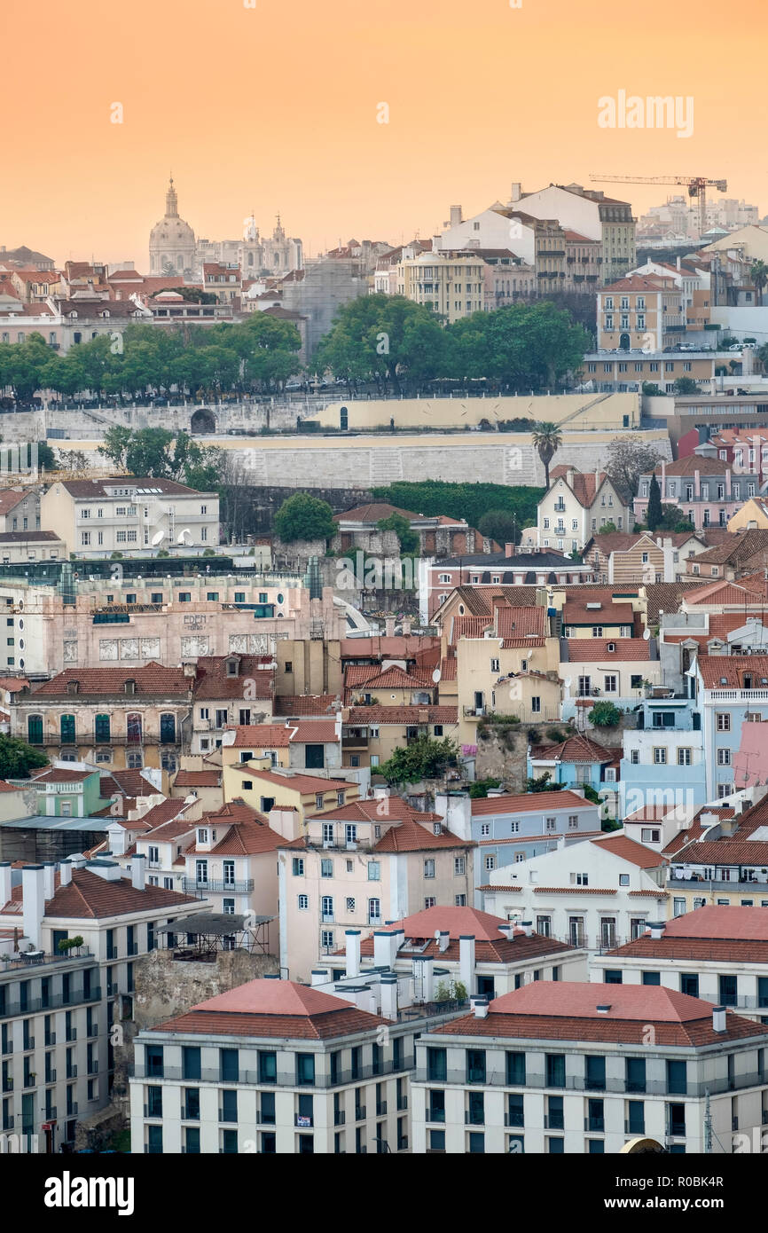 View of the skyline and city centre streets in Lisbon, Portugal - Stock Image