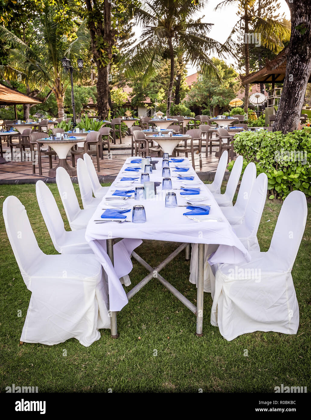 Chairs and tables prepared for garden party Stock Photo - Alamy