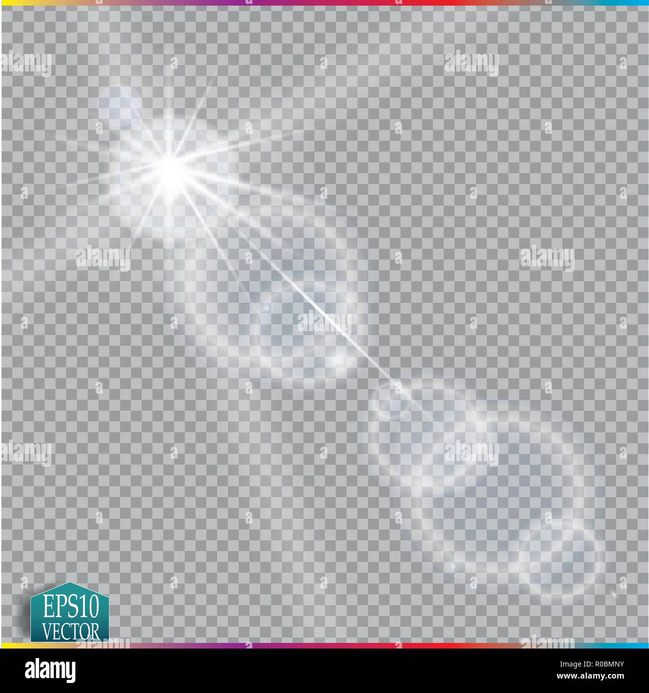 Vector transparent sunlight special lens flare light effect. Stock Vector