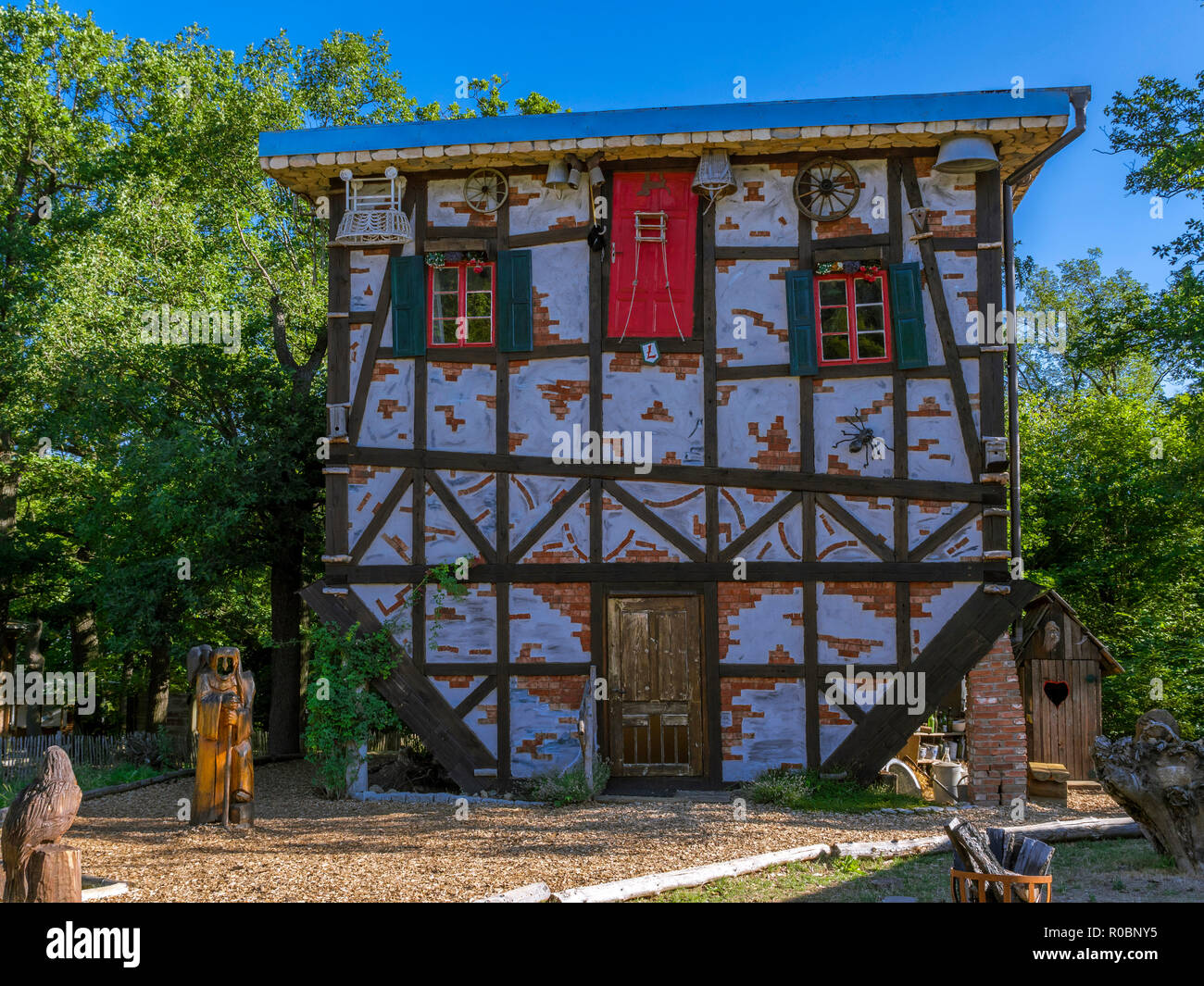 Witches house at Hexentanzplatz, the so called witches' dancing place near Thale, Eastern Harz, Saxony-Anhalt, Germany, Europe - Stock Image