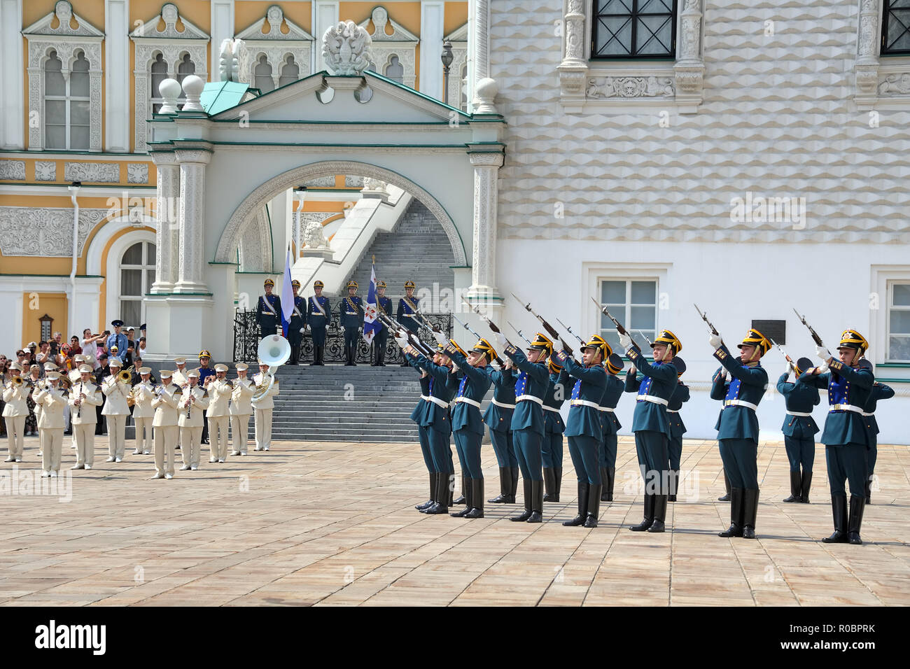 = Presidential Regiment Guards Fire a Gun Salute =  Infantry of Kremlin Regiment performs salute from SKS rifles (Soviet semi-automatic carbine design - Stock Image