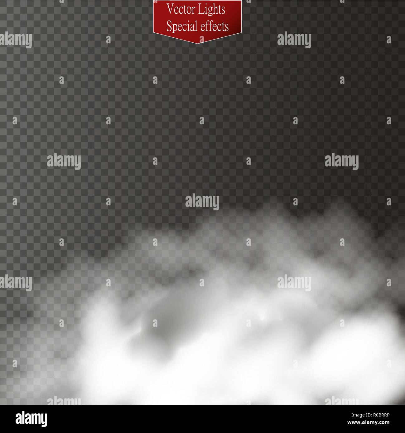 Fog or smoke isolated transparent special effect. White vector cloudiness, mist or smog background. Vector illustration - Stock Vector