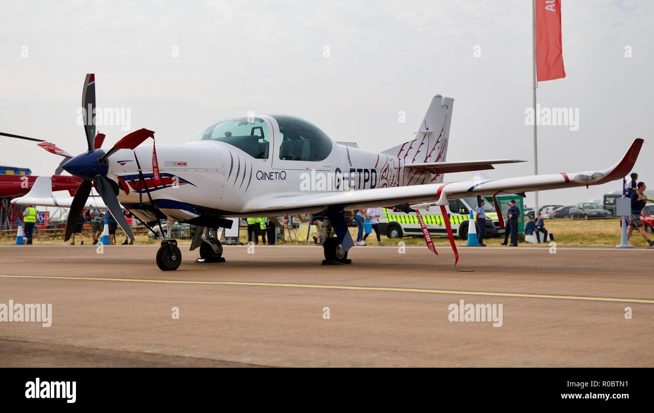 QinetiQ - Grob G-120TP (G-ETPD) on static display at the 2018 Royal International Air Tattoo - Stock Image