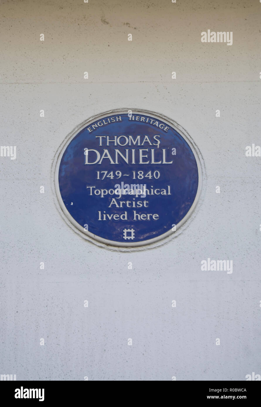 english heritage blue plaque marking a home of topographical artist thomas daniell, earl's terrace, kensington, london, england - Stock Image
