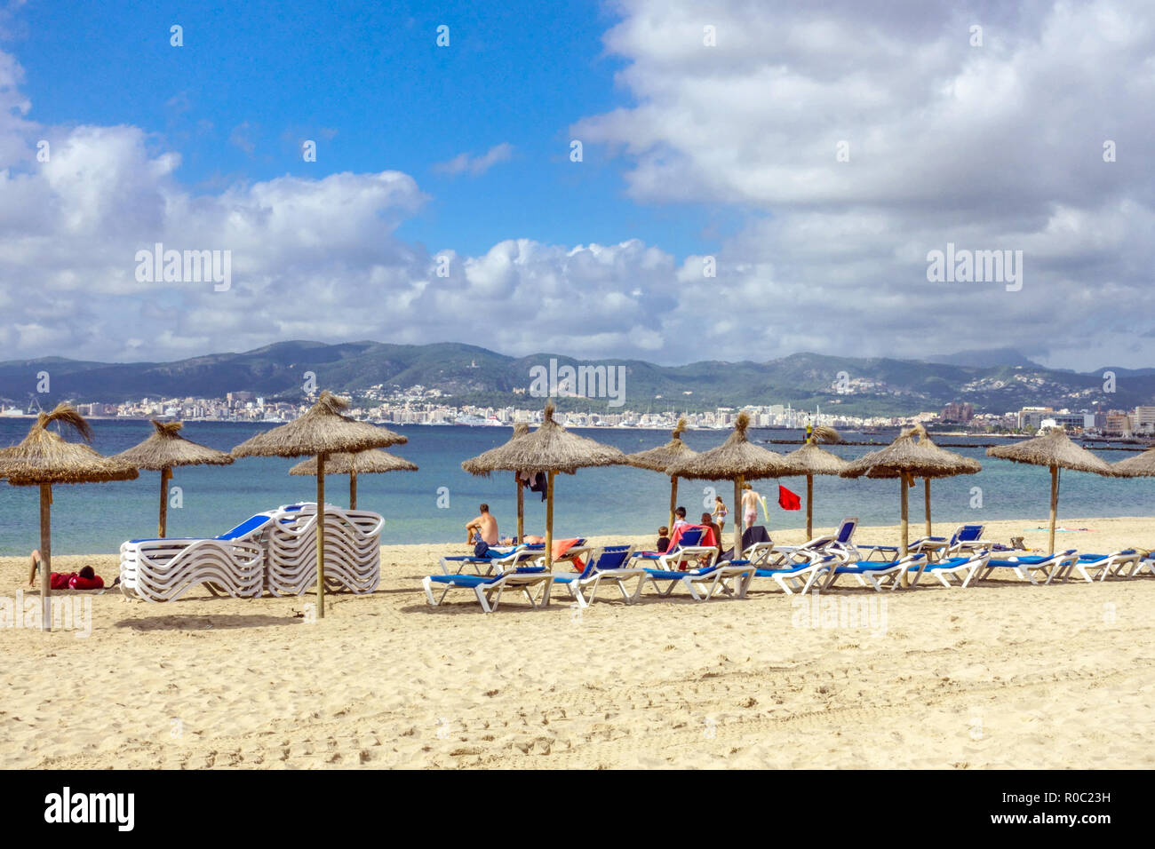 Palma de Mallorca Beach at seaside, district Ciutat Jardi - Stock Image