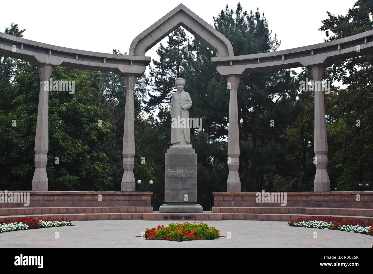 Statue representing Kurmanjan Datka ( 1811-1907), a female kyrgyz ruler now highly respected in Kyrgyzstan. - Stock Image