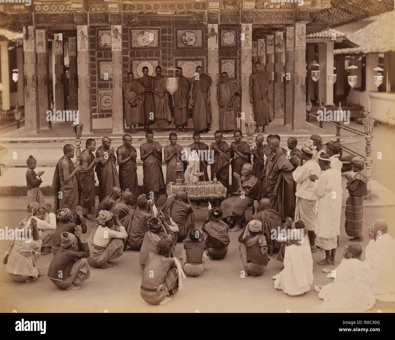 Group of Buddhist Monks in Prayer, Sri Lanka - Stock Image