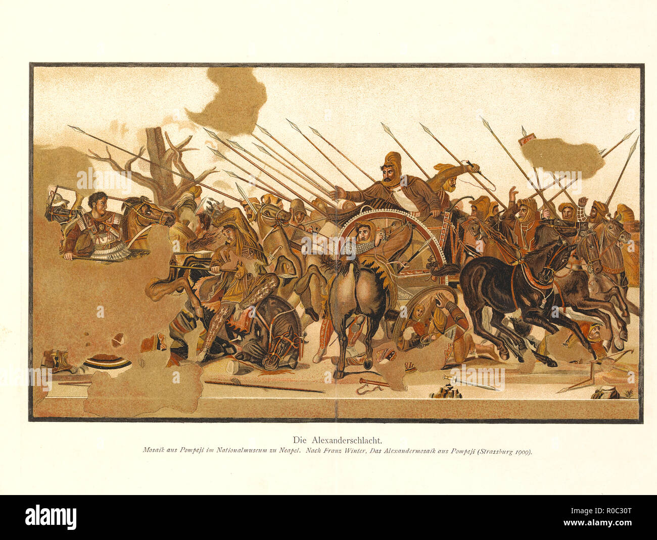 Alexander the Great versus Darius III of Persia during Battle of Issus, Tile Mosaic discovered from the ruins of Pompeii, National Museum of Naples, Strasbourg, 1909 - Stock Image