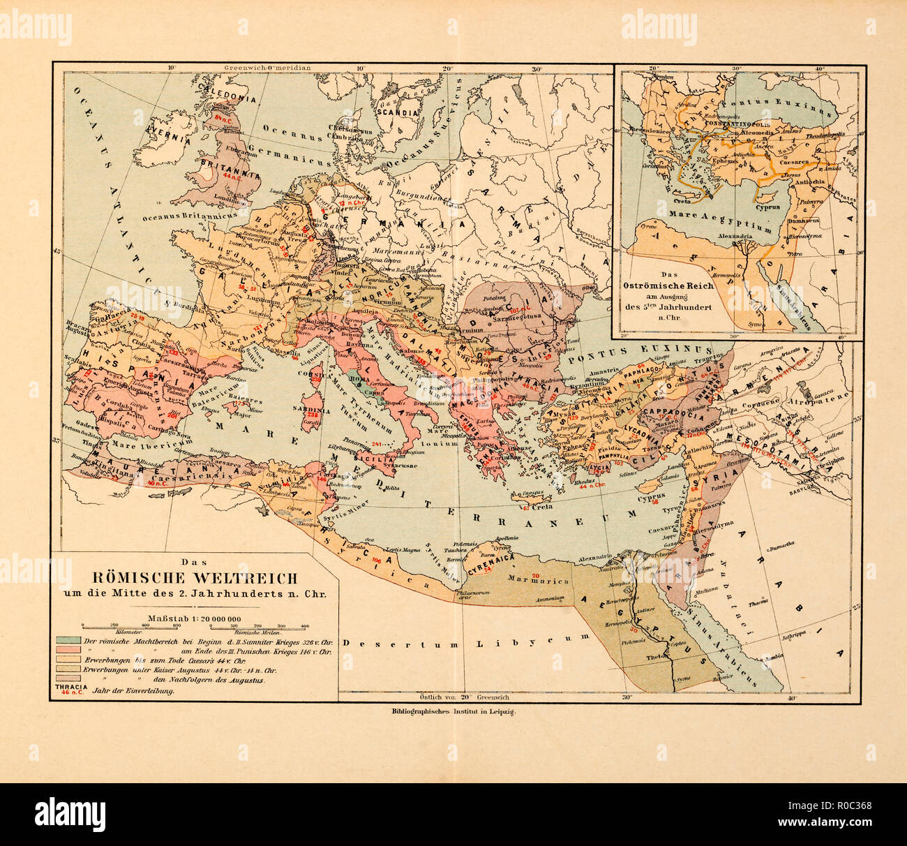 Map, Roman Empire around the middle of the 2nd century AD, Germany - Stock Image