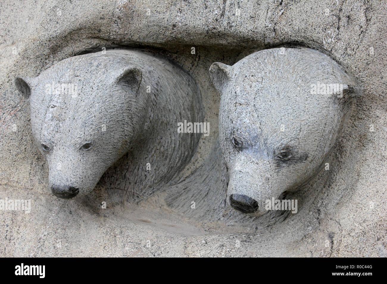 Polar Bear Cubs Inuit Carving - Stock Image