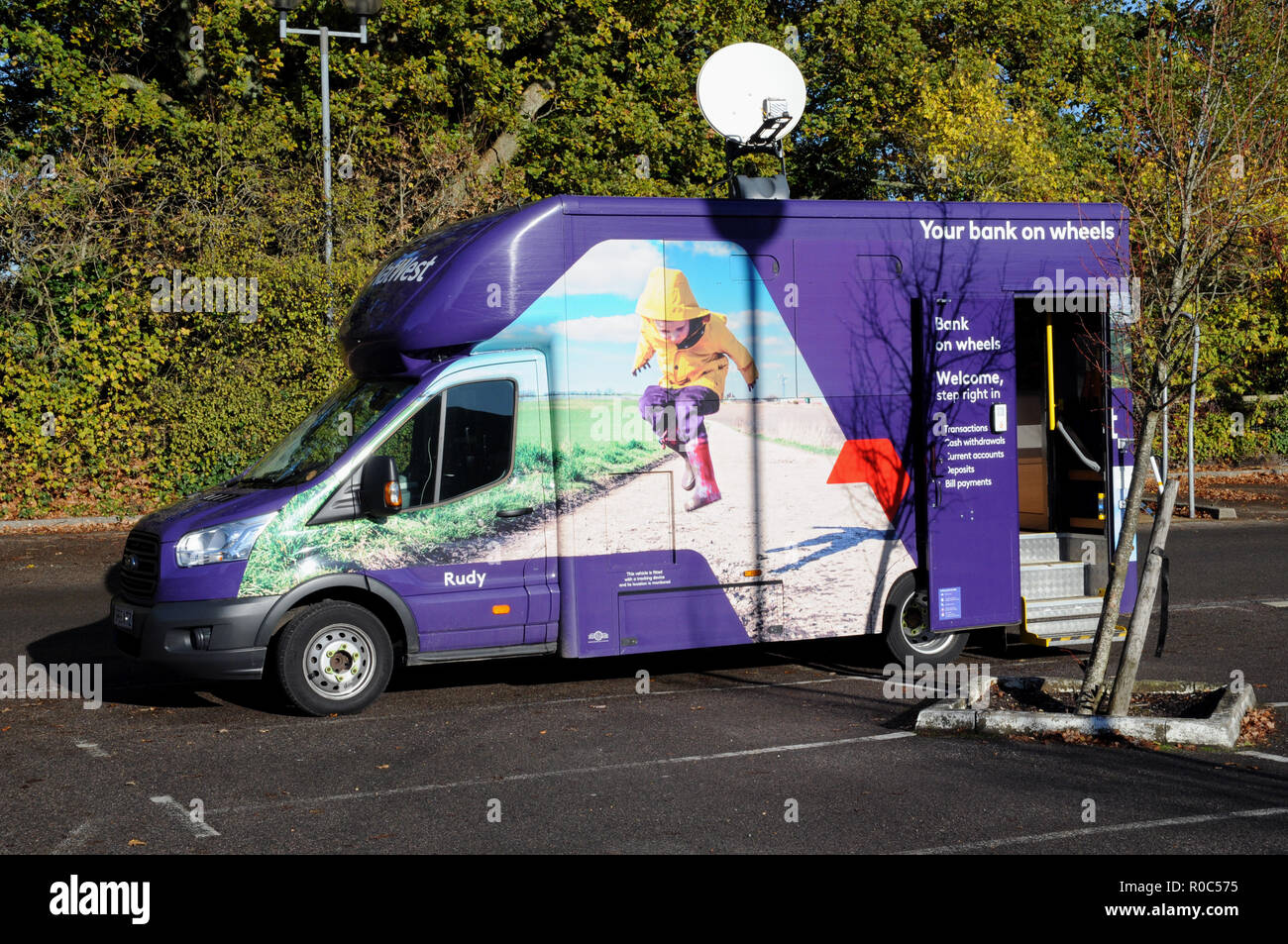 Natwest Bank's answer to the closure of some of its local branches in East Sussex. This mobile banking service calls once a week. - Stock Image