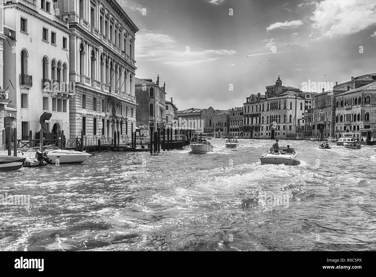 VENICE, ITALY - APRIL 29: Scenic architecture along the Grand Canal in San Marco district of Venice, Italy, April 29, 2018 - Stock Image