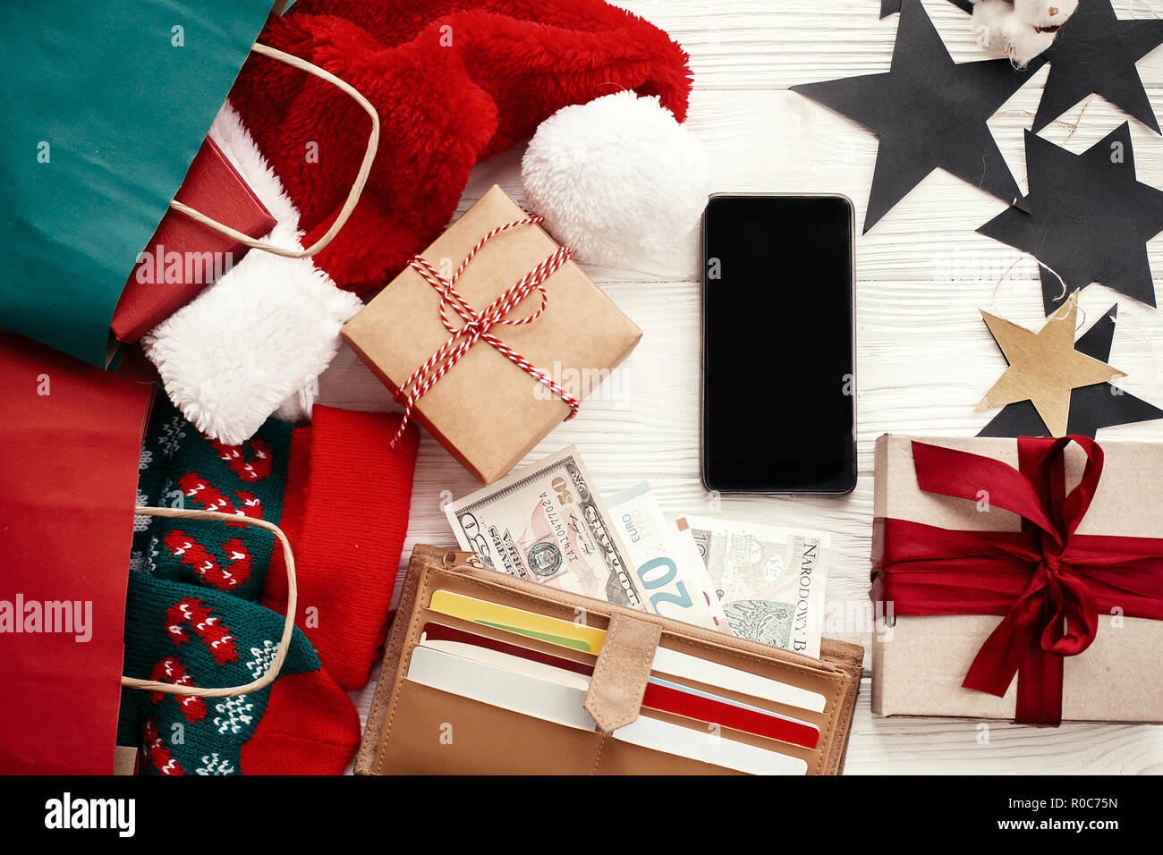 Christmas shopping and seasonal sale. Credit cards and money in ...
