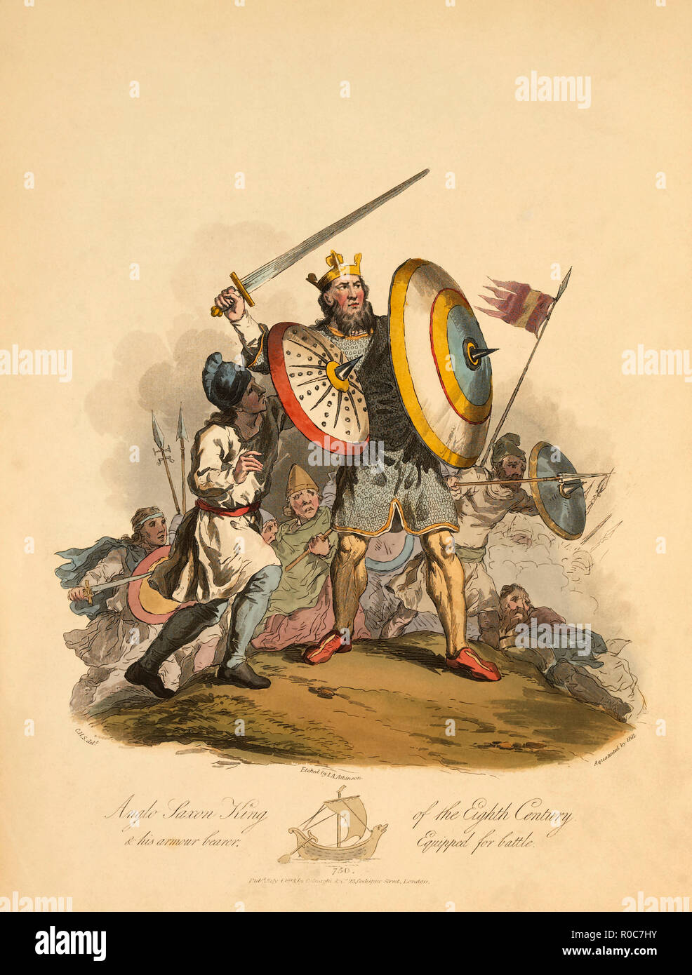 Anglo Saxon King of the Eighth Century and his Armour Bearer Equipped for Battle, 750, Etching by I.A. Atkinson, 1813 - Stock Image