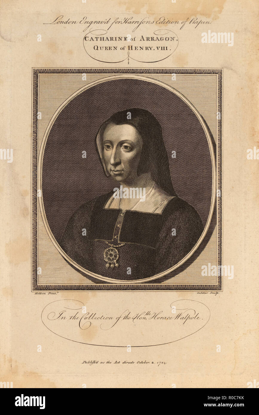 Catharine of Arragon (Catherine of Aragon), Queen of Kenry VIII, in the Collection of the Honorable Horace Walpole, Engraving, 1784 - Stock Image
