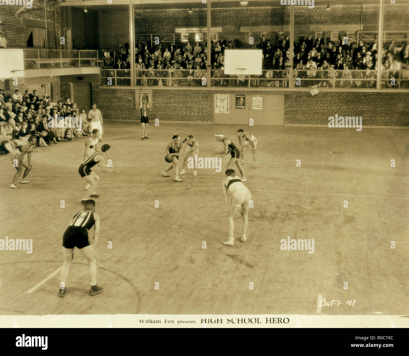 High School Basketball Game, on-set of the Silent Film, 'High School Hero', Fox Film Corporation, 1927 - Stock Image