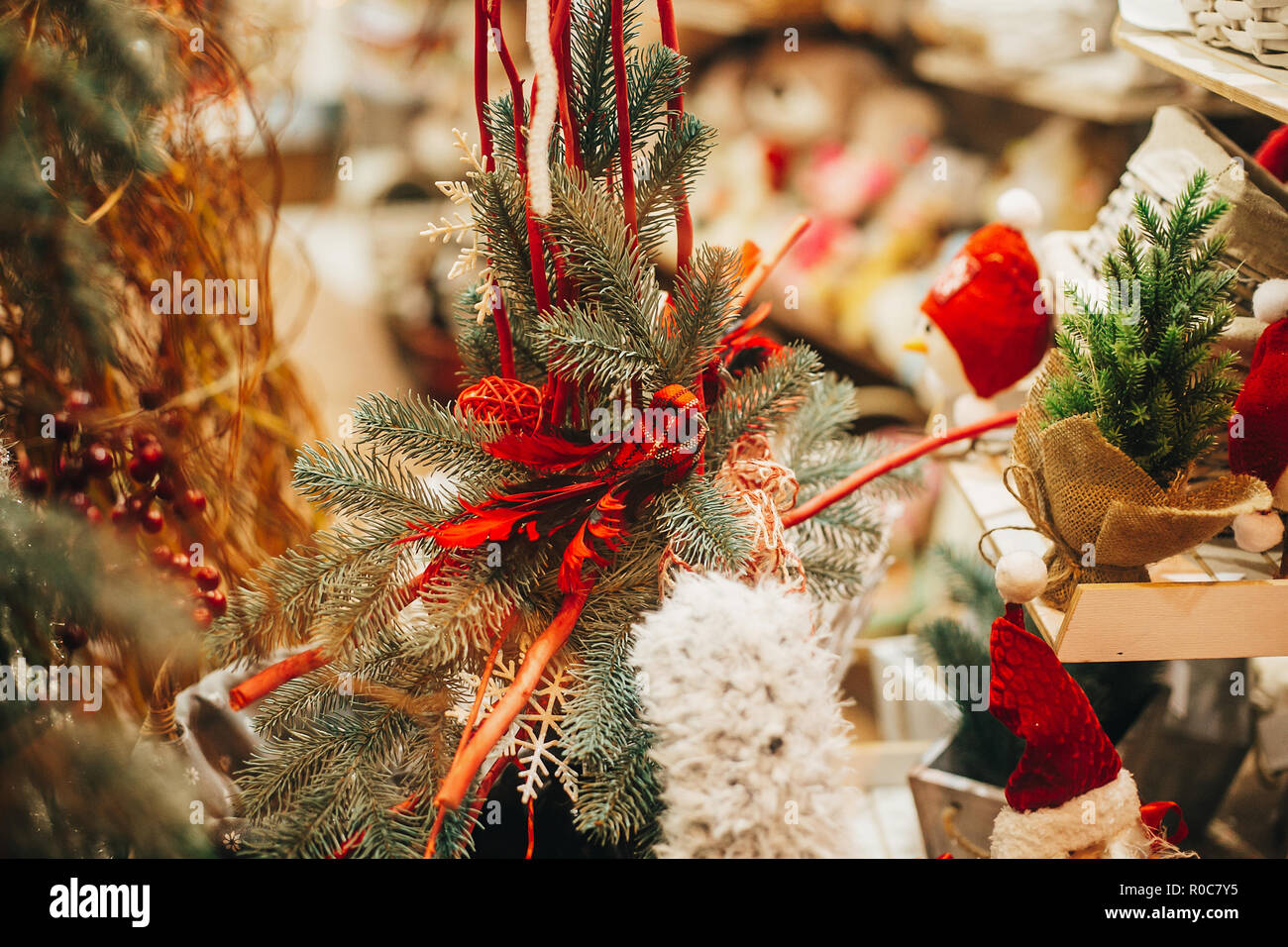 Rustic Christmas Tree With Toys On Window In European City Street Simple Festive Decorations And Illumination In Winter Holidays In Town Presents O Stock Photo Alamy