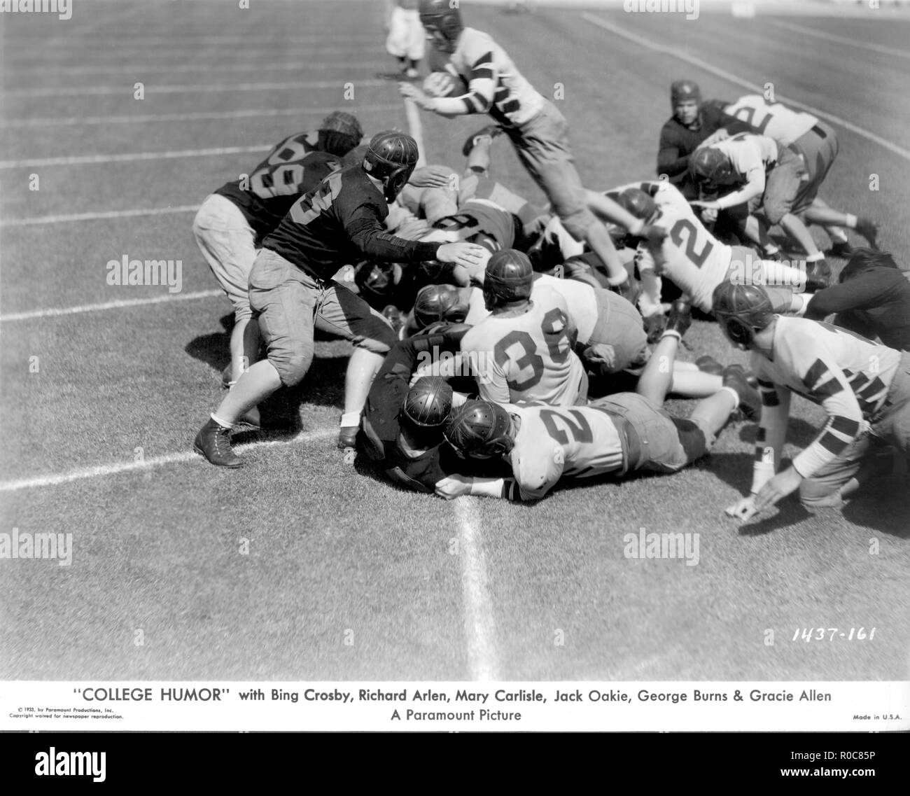 Football Game, on-set of the Film, 'College Humor', Paramount Pictures, 1933 - Stock Image
