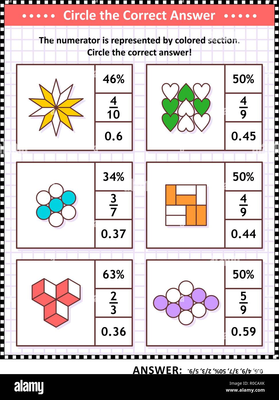 Math skills training visual puzzle or worksheet. Circle the correct answer. Find the number equivalent for each pictorial fraction representation. Answer included. - Stock Vector