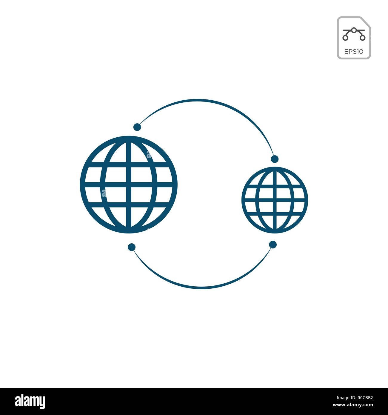 Earth globes isolated on white background. Flat planet Earth icon. Vector illustration. - Stock Image