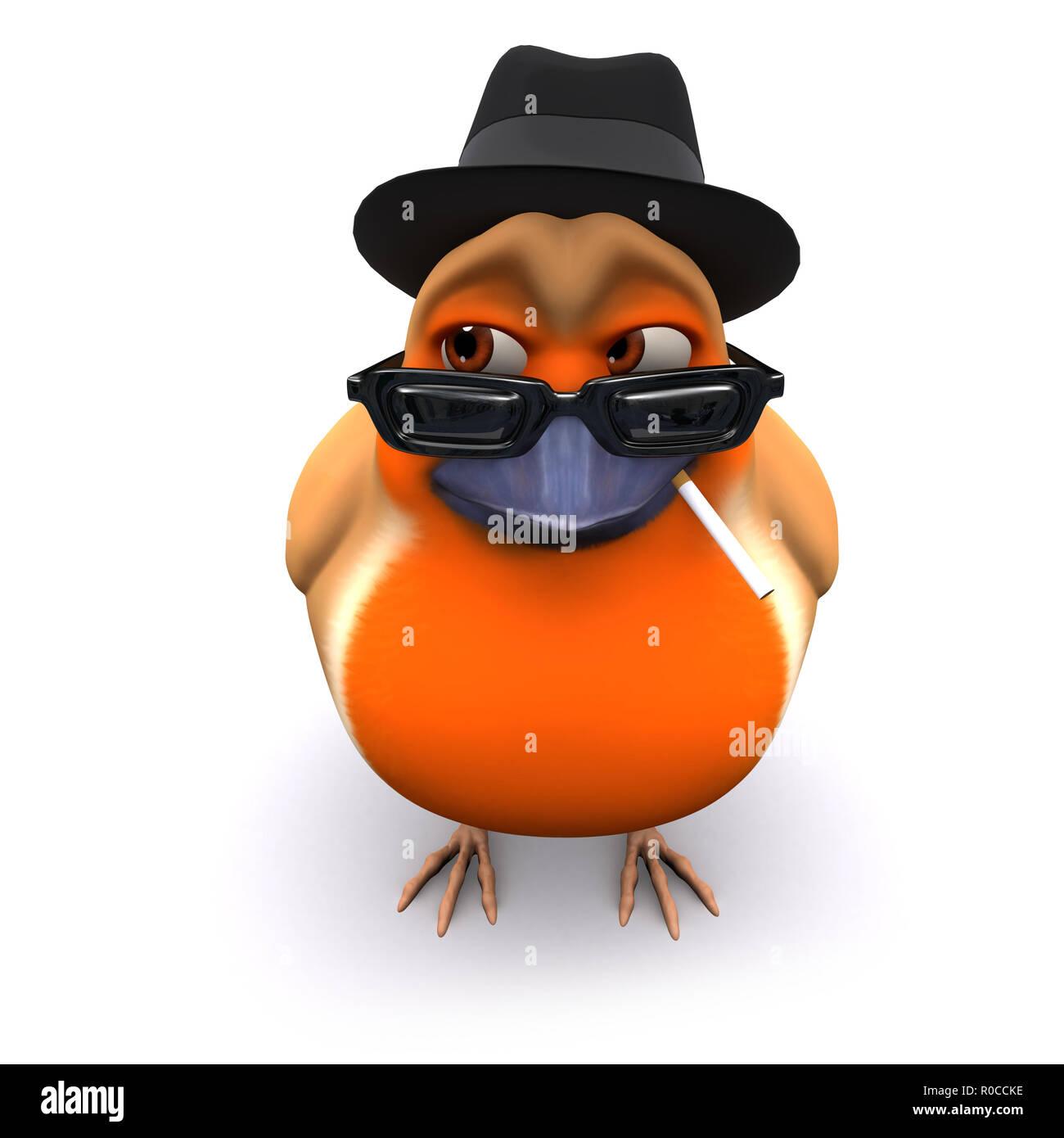 3d Seasonal Christmas robin wears a trilby and smokes a cigarette Stock Photo