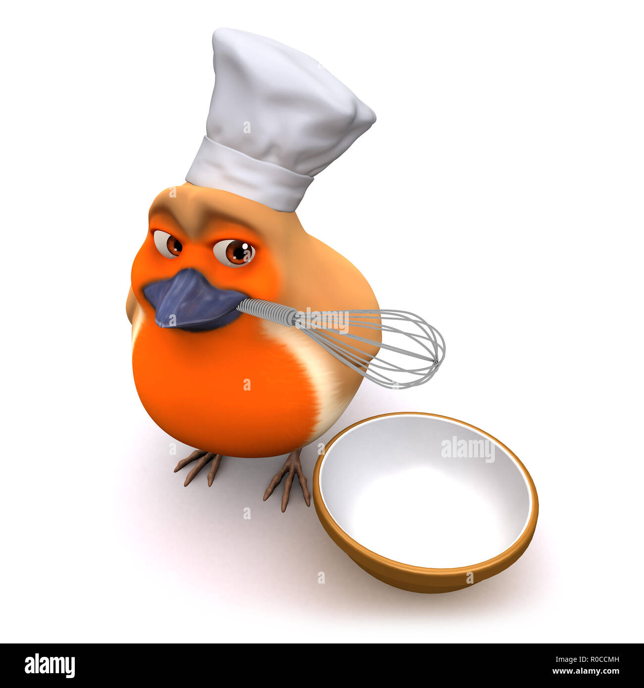 3d render of a cartoon robin bird making a cake with whisk and bowl Stock Photo