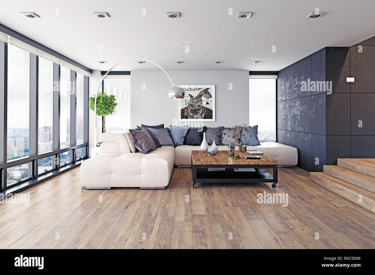 . modern design living room interior  3d rendering concept Stock Photo