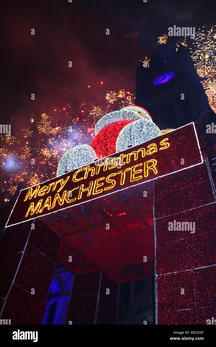 Manchester Christmas Lights Switch On With Fireworks - Stock Image