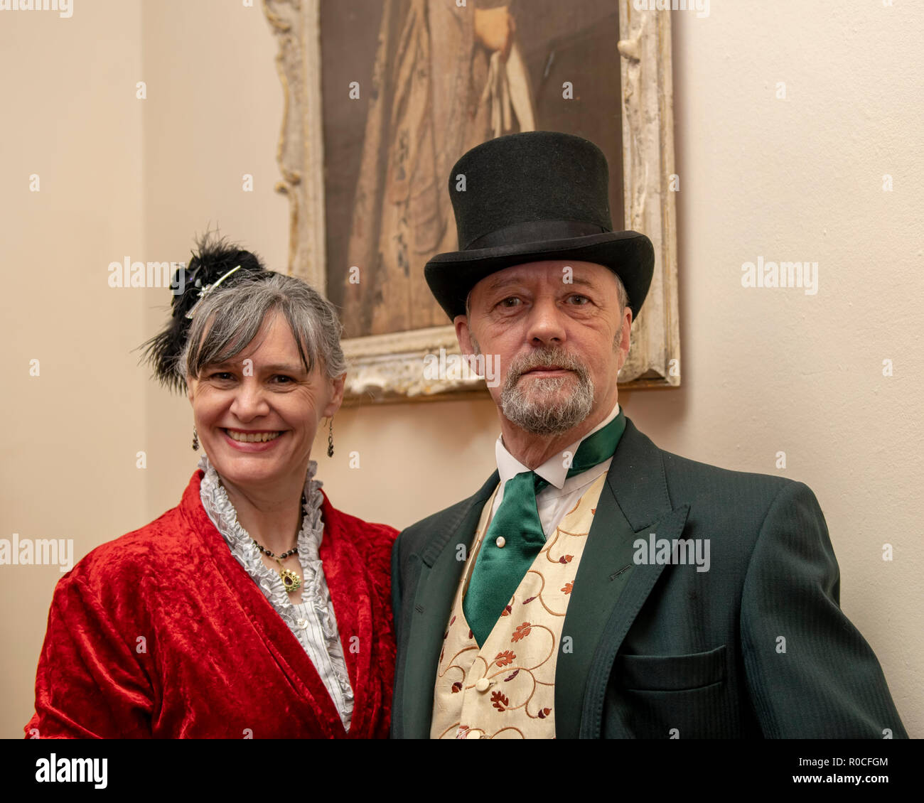 UK, Market Bosworth, Victorian Christmas Fair - December 2015:  A couple dress in victorian costume - Stock Image