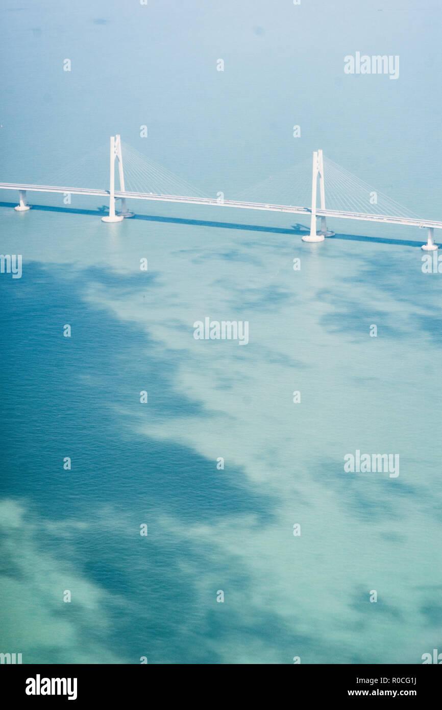 aerial view of Hong Kong Zhuhai Macau Bridge. - Stock Image