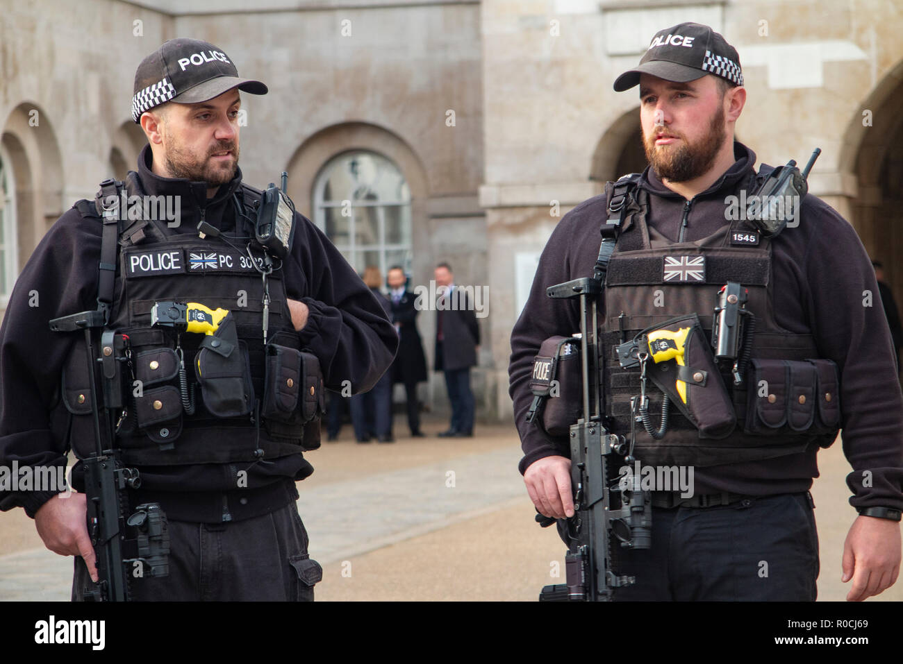 Heavily armed British police - Stock Image