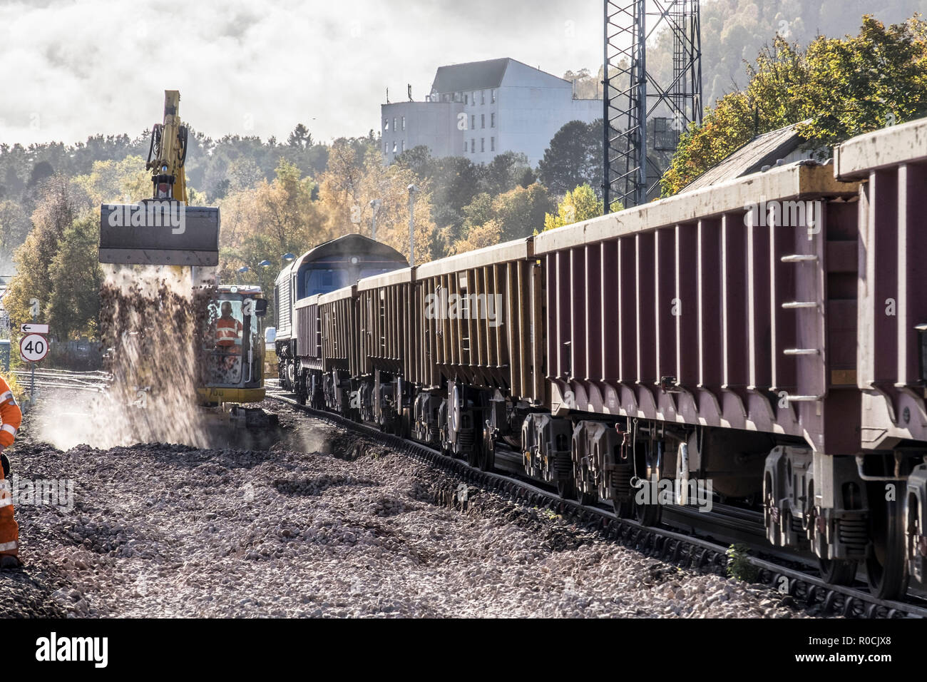 New rail tracks and ballast being laid - Stock Image