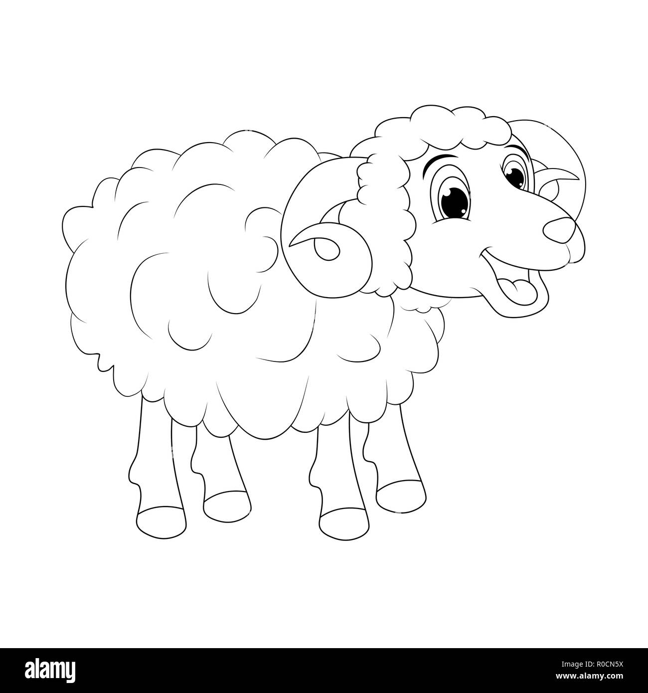 cartoon outline ram design isolated on white background Stock Vector
