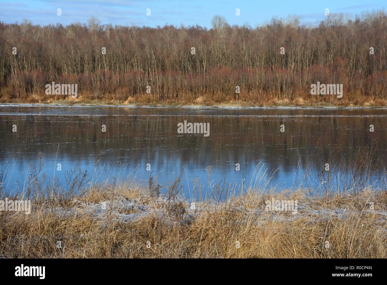 Desna river in winter Stock Photo
