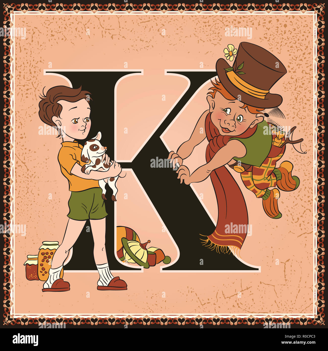 Children book cartoon fairytale alphabet. Letter K. Karlsson on the Roof by Astrid Lindgren - Stock Image