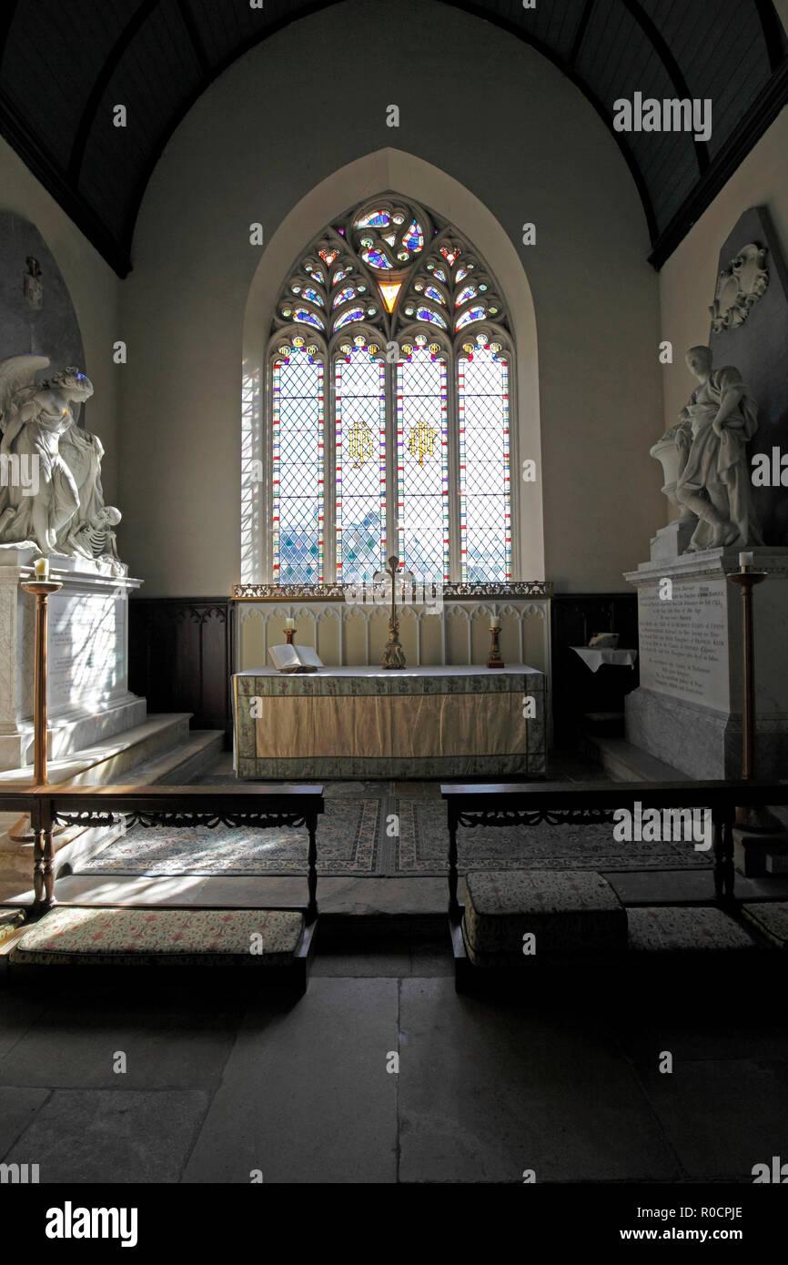 East Window of Sherborne Church, St Mary Magdelene, next to Sherborne House. Gloucestershire. - Stock Image