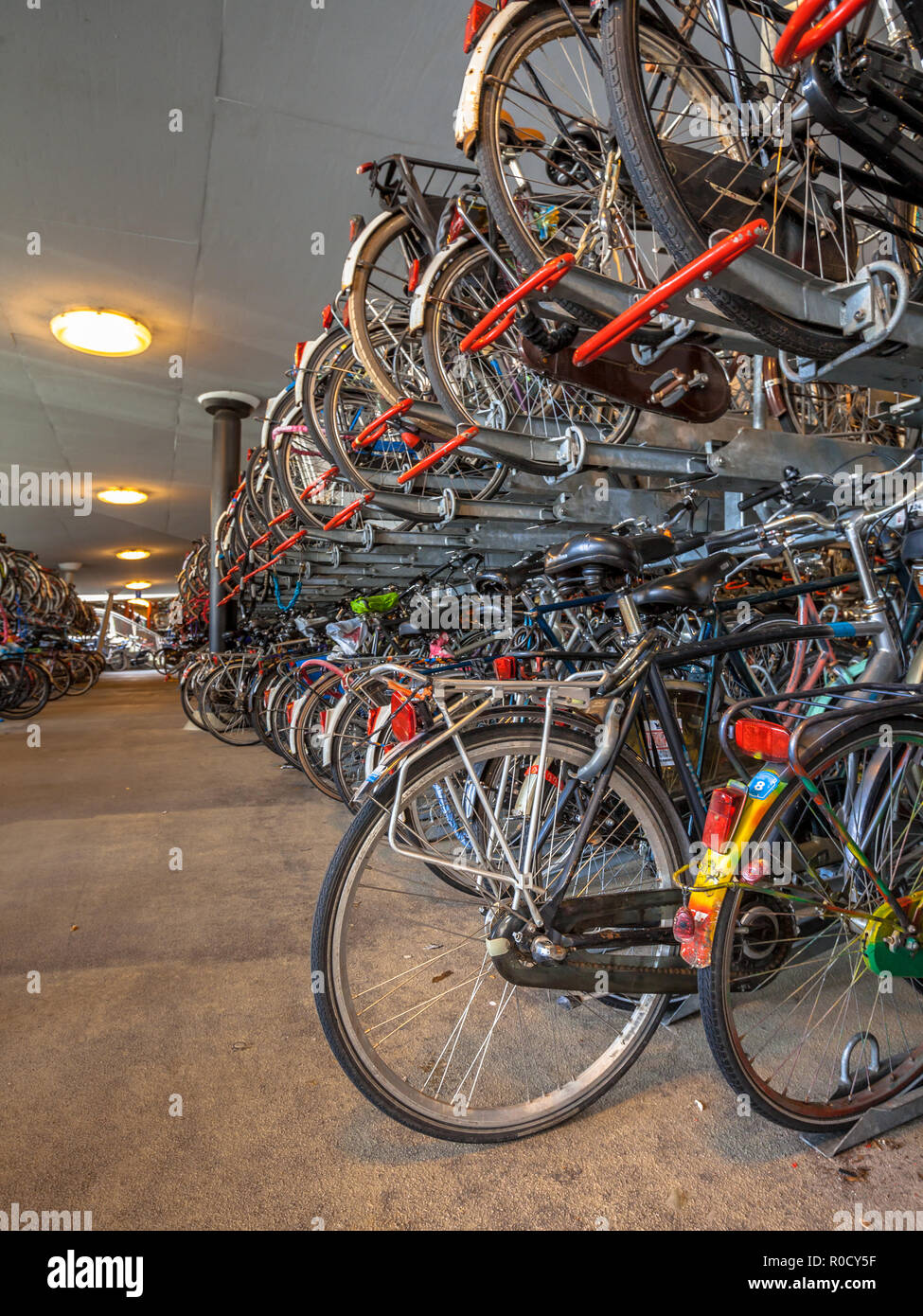 Bicycle parking on Groningen central station. The city of Groningen has been voted ' most cycling friendly city of the Netherlands' for 3 years in a r - Stock Image