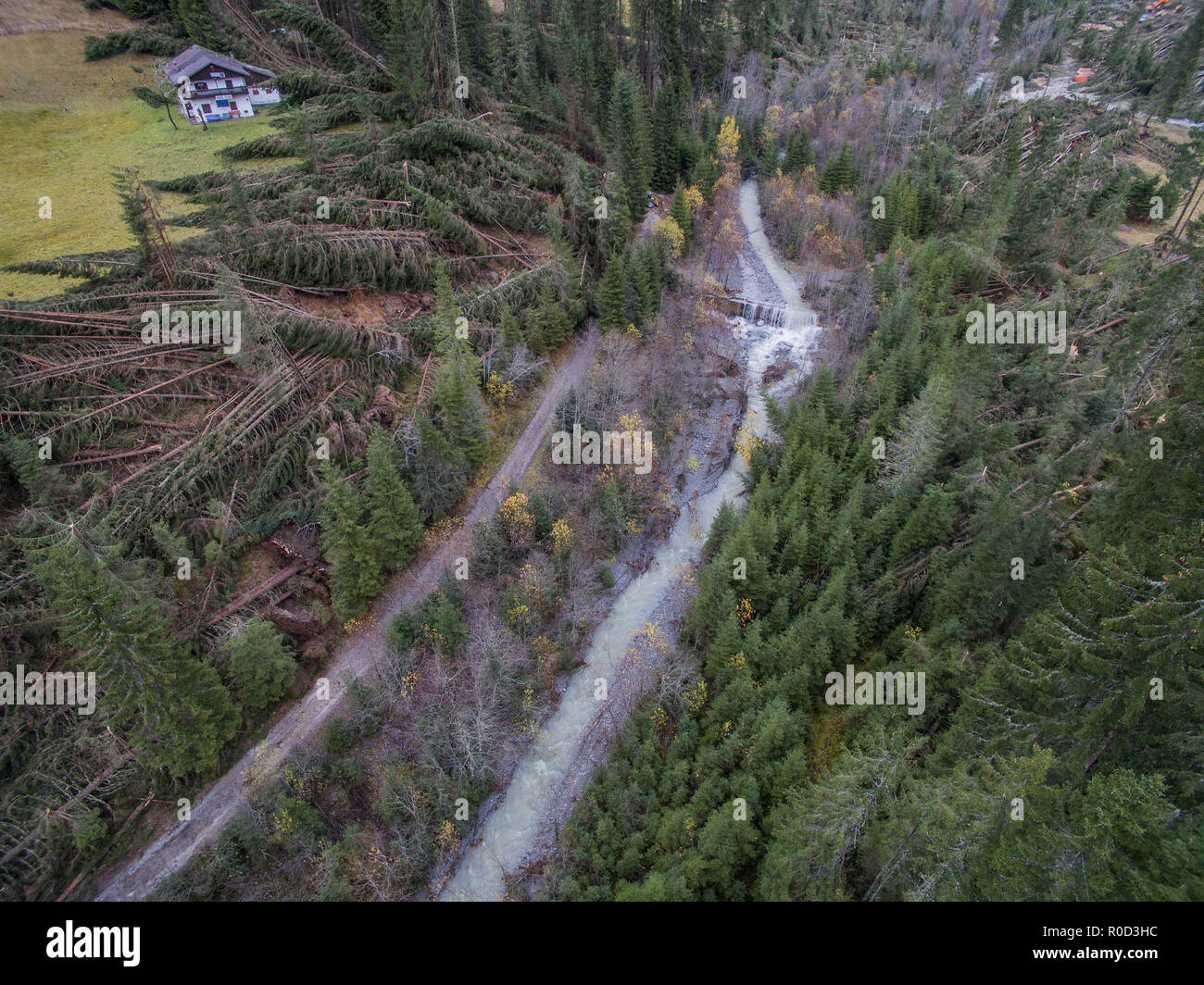 Belluno, Italy. 03th November, 2018. Overview made with the drone of the damage caused by the flood in the Belluno area, in Val Visdende Belluno, Italy. © Stefano Mazzola / Awakening / Alamy Live News - Stock Image