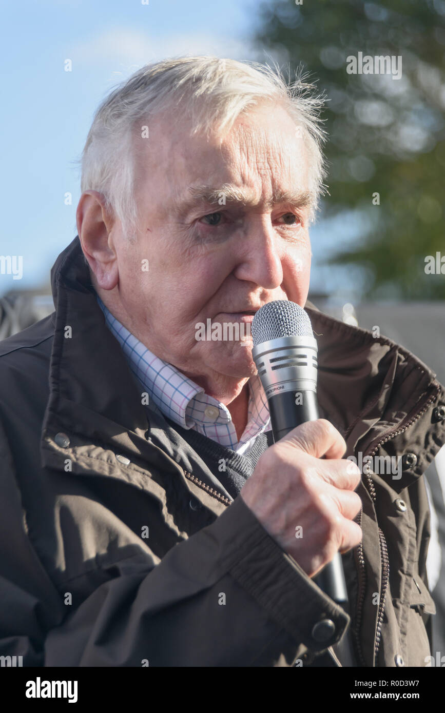 London, UK. 3rd November 2018. Ted Knight, former Lambeth Labour leader speaks. Several hundred people, mainly from London's council estates under threat of demolition by Labour London councils came to a protest outside City Hall called by 'Axe the Housing Act'. The protest called for an end to estate demolitions unless  approved by a ballot of all residents, and for public land to be used to build more council homes rather than being turned over to developers to make huge profits from high-priced flats. ons a Credit: Peter Marshall/Alamy Live News - Stock Image