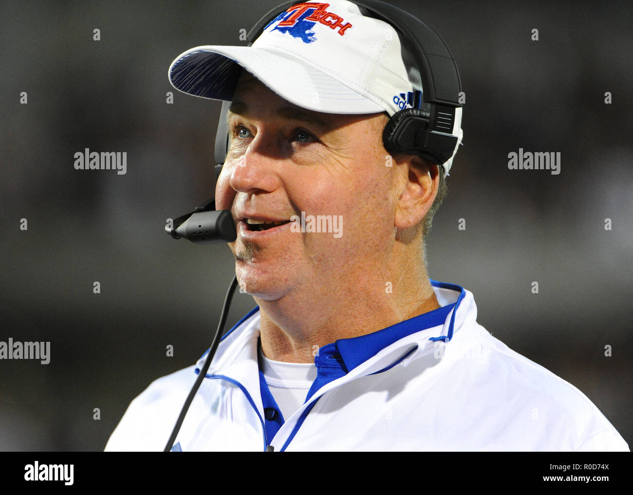 November 03 2018 Louisiana Tech Head Coach Skip Holtz On The Sidelines During The Ncaa Division I Football Game Between Louisiana Tech And The Mississippi State Bulldogs At Davis Wade Stadium In