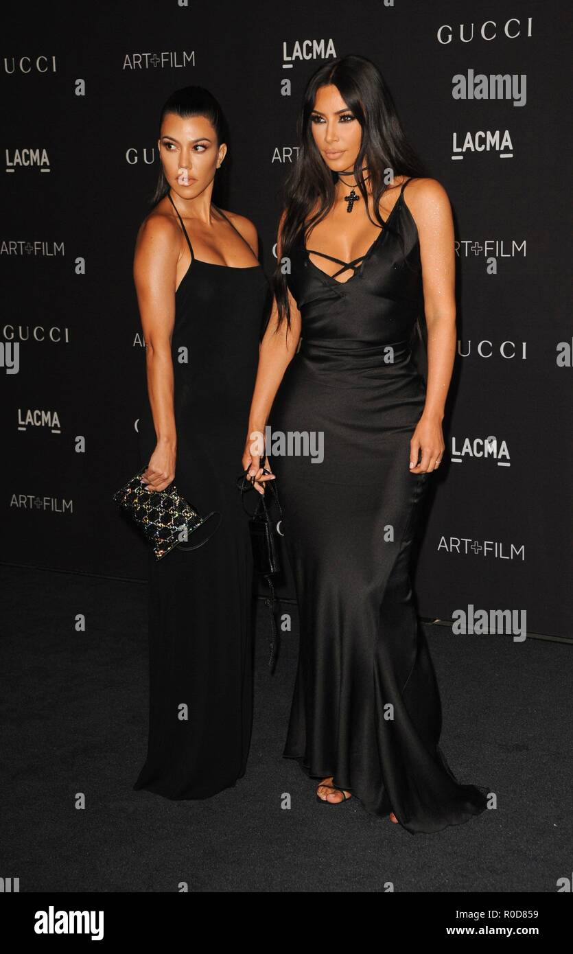 Los Angeles, CA, USA. 3rd Nov, 2018. Kourtney Kardashian, Kim Kardashian West at arrivals for 2018 LACMA Art   Film Gala, Los Angeles County Museum of Art, Los Angeles, CA November 3, 2018. Credit: Elizabeth Goodenough/Everett Collection/Alamy Live News - Stock Image